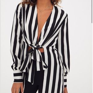 Pretty Little Thing Tie Front Blouse